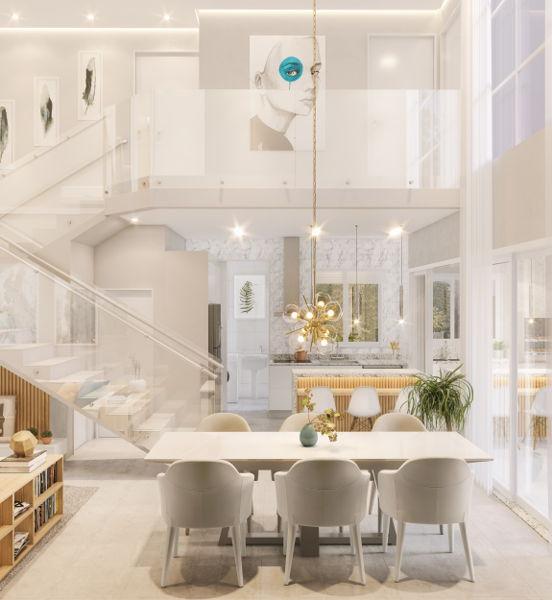 Vista cozinha e quartos